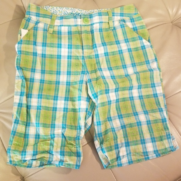 Arizona Girls size 12 1//2 Plus Cotton Casual Shorts Blue White Plaid Designer